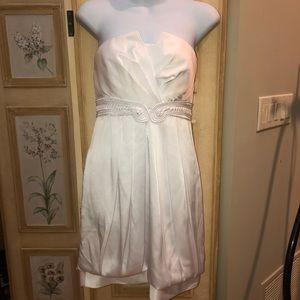 Bcbg nwot pleated white satin dress